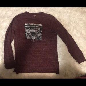Men's Express long sleeve maroon shirt size large